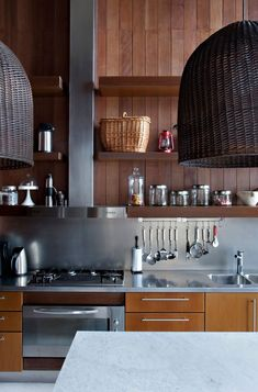 Contemporary wooded kitchen