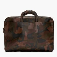 Black & Brown Leather Camo Print Briefcase by Paul Smith