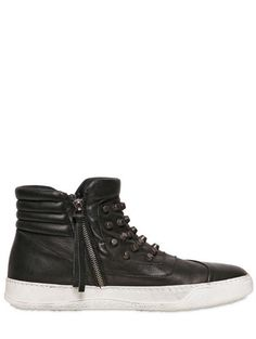 Bb Bruno Bordese Studded Washed Leather Sneakers in Black for Men - Lyst