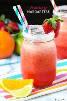 Strawberry Margarita - a classic strawberry margaritas with freshly squeezed juice and fresh berries!