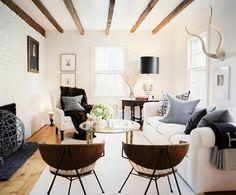 Furniture layout, beams, fireplace