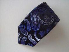 XMI MENS SILK NECK TIE Necktie blue purple gray black paisley woven 100% Silk