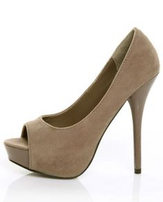 My Delicious Mealy Cement Suede & Patent Peep Toe Platform Pumps. $29.00