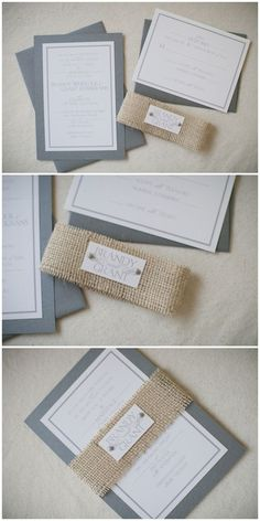 handmade wedding invitation with burlap belly band