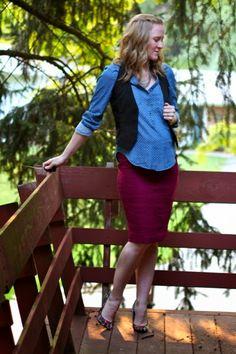 Work it: Denim top with vest #maternity