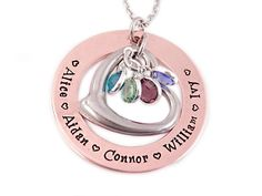 Mixed Metal Birthstone Heart Necklace