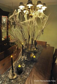 inspir halloween, halloween ideas decorations, candles, centerpiec idea, tree branches