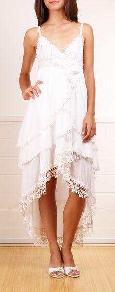 Claire Pettibone ivory layered cotton dress
