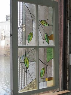 Stained Glass Leaves in Shabby Chic Frame by RenaissanceGlass