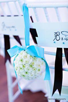 Chair Pomander - Tiffany Blue Ribbon - Stoneblossom Florals' Bouquets