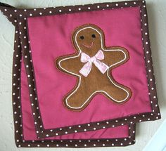 Gingerbread Man Set of Two Appliqued Potholders by niccivale, $18.00