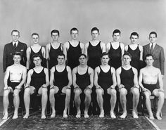 John Kennedy (back row, third from left) was on the swim team while at Harvard.