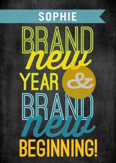 Brand New Start - New Year Greeting Card in Black   Magnolia Press