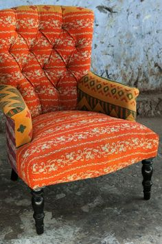 'Kantha' chairs are upholstered in vintage Indian Saris, finished with traditional 'Kantha' hand stitching