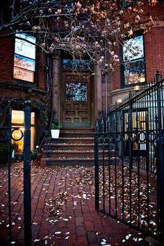 An old brownstone in Boston's Back Bay or on Beacon Hill