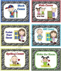 Learning Center Signs & labels Zebra - Print The adorable graphics on these learning center signs and labels are very kid friendly and help little ones find their assigned learning centers! There are large labels for 47 different centers with matching smaller labels. Please contact me if they do not