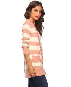 pink/cream cardigan