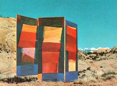 """""""Desert Triptych,"""" an outdoor installation piece painted in acrylic panels, illustrates Michael Ashcraft's """"horizontal painting"""" technique. Courtesy photo  Read more: Moab Times-Independent - Artist s work is inspired by emotional response to region s landscape"""