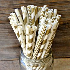 50 Gold Stripe, Star and Chevron Paper Straws, Holiday Party Supply, Wedding, Anniversary Party on Etsy, $7.50