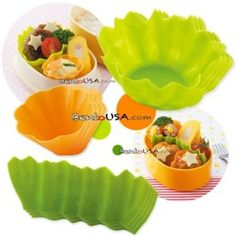 Silicone Microwavable Bento Baran and Food Cup Lettuce Leaf 12 pcs - $9.50