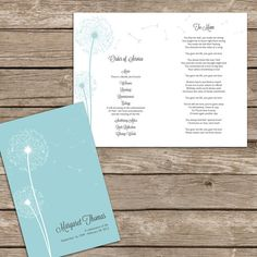 Beautiful Dandelion Order of Service for by FoxDigitalDesign