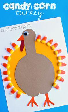 Candy Corn Turkey Craft #Thanksgiving craft for kids to make | CraftyMorning.com