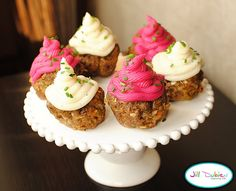 """April fools food - meatloaf cupcakes. The """"frosting"""" is actually mashed potatoes and the pink ones are colored with beet juice. Woah."""