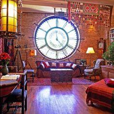 living rooms, lofts, dream, living room windows, clock faces, storage buildings, homes, steampunk, brooklyn