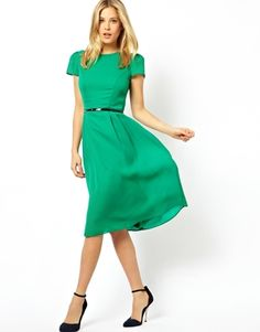 Simple Midi Skater Dress With Belt - love the slight poof in the sleeve