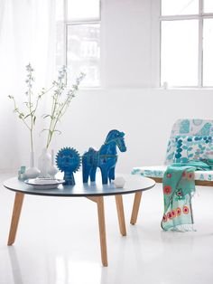 Few ideas how to add colors in your home | 79 Ideas (patterned chair, blue details like a ceramic horse)