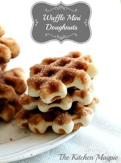 Mini Doughnuts made in your waffle iron, then dipped in cinnamon sugar. Perfect for the holidays! | The Kitchen Magpie #Christmas #recipes #Doughnuts christmas recipes, mini doughnut, waffle recipes, waffle maker recipes, mini donuts, breakfast food, mini cakes, waffle iron, the holiday