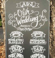 wedding ceremony program handwritten on a chalkboard