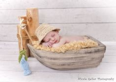 newborn little fisherman hat and fish set -  photo prop. $15.00, via etsy.