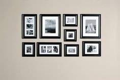 Picture gallery template! Shows you where to hang pictures in clusters over couches, in staircases or just on a normal wall!