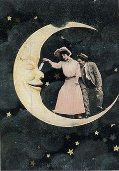 Moon, clouds, stars, vintage, blue