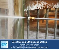 http://branson.renewcrewclean.com/ – The second step in our deck cleaning process may look like traditional pressure or power washing, but it isn't. Because our cleaning solution loosens the grim, it sprays away easily at low pressures that won't damage your wood. We serve Branson and surrounding areas. Free estimates.