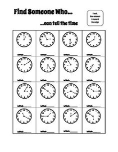 This cooperative learning activity gets the whole class up and moving while they practice telling their time-telling skills!