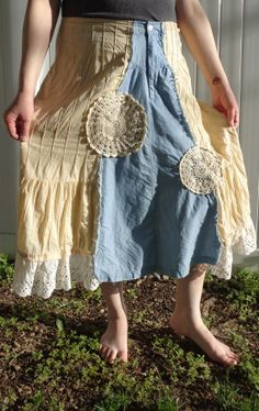 FREE SHIPPING Refashioned Hippie Boho Skirt by MountainViewShop, $21.00