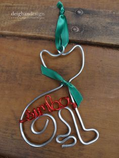 Personalized Pet Ornament  Handcrafted Wire Cat by DeighanDesign, $18.00