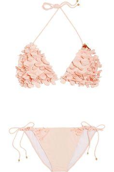 peach ruffly bikini|miu miu