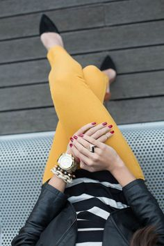 Mustard and Black Stripes