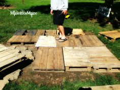 DIY Pallets into a floating deck. Consider a similar approach for small deck in front of pool.