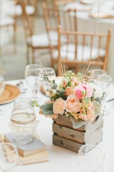Wood Crate Centerpiece crate centerpiece, weddings, wooden boxes, floral designs, wooden crates, mason jars, wedding centerpieces, wood crates, flower boxes