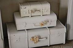 White Retro Suitcases