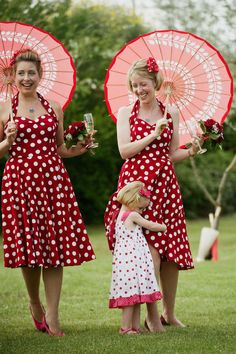 vintage inspired red polka dots.