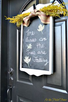 Thrift Store Door Decor For Fall - At The Picket Fence