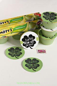 School Snack Printable for GREEN applesauce