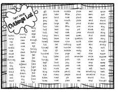 Sight Words Challenge List
