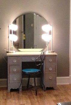 #DIY makeup vanity.  Refinish old desk, 2 lamps from Wal-Mart, wall mounted mirror from EBay, knobs from Michael's, mounted power strip under front of desk for easy on/off for lights, hair appliances, etc.  Don't forget to have a piece of glass cut for the top for when you spill makeup or fingernail polish (best $ ever spent)!  #Teen girl bedroom