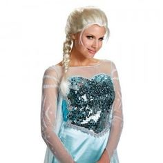 The Disney Frozen Elsa Adult Wig is a white braided wig with glimmery accents based on the hairstyle of the character in the movie Frozen.